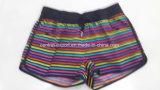 Oeko-Tex flaches Taillen-Polyester-gestreifte Dame Board Short Swimwear