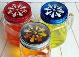 Maurer-Glas mit Griff-Farben-Kappen-Streifen der Glasflasche Glaswaren
