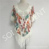 女性(SOI1737)のためのふさが付いている夏の方法かぎ針編みの印刷のブラウス