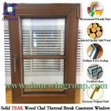 Tente en bois de chêne/tissu pour rideaux en aluminium solides Windows, guichet en aluminium avec le teck/le revêtement en bois de chêne