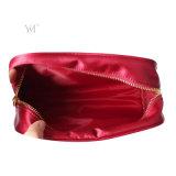 Bolso cosmético rojo del satén popular de la manera de la alta calidad