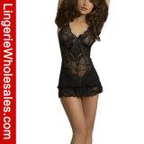 Le noir des femmes voient à travers le jeu sexy de lingerie de Babydoll de lacet