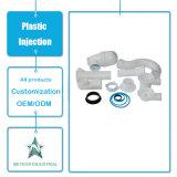Modelagem por injeção plástica plástica personalizada de encaixe de tubulação do T do cotovelo das peças industriais