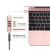 USB Typ-c 3.1 3-Port USB3.0 zur Nabe mit Million Ethernet-Adapter für MacBook 2016, Chromebook Pixel und andere USB Typ-c Einheiten