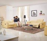 Sofá Moderno del Cuero de los Muebles de la Sala de Estar (705#)