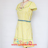 Breve Sleeve Fashion Woven Print, Embroidery, 100%Cotton Dress per Ladies