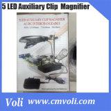 5 LED補助クリップAC/DC交換可能な拡大鏡