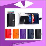 Stock Mini Carteira de couro genuíno RFID Business Cardholder Automatic Pop-up Card Case
