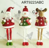 Boneca ereta da decoração dos alces do boneco de neve de Santa do Natal com pés de expansão