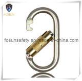 Carabiner auto-bloqueur en acier galvanisé jaune ovale