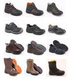 Zapatos de seguridad de cuero de Outsole de grano de Brown del cuero de la inyección completa de la PU Sn5117