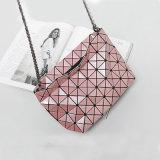 Bolsa Rhombic das senhoras de sacos do ombro da geometria cor-de-rosa (A060-2)