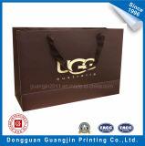 Горячая хозяйственная сумка бумаги надувательства с золотистым логосом