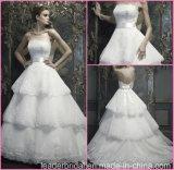 2017 vestidos nupciais Strapless Wedding CB064 do laço estratificado do vestido de esfera