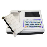 Teclado cheio da canaleta a mais nova do Portable 12 7 máquina do electrocardiógrafo ECG EKG de Digitas da cor da polegada com os Elétrodos-Maggie do membro da caixa