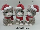 Het Beeldje die van het Katje van Deocr van Kerstmis van de vakantie de Hoed van de Kerstman dragen