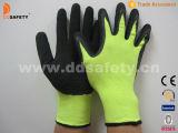 Законченный Crinkle черного латекса Coated работающ перчатка Dnl414