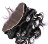 """Hairpieces humains 24 """" 2part de Vierge de fermeture de lacet de la guerre biologique 13*3"""