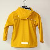 Желтые с капюшоном отражательные куртка/плащ дождя PU