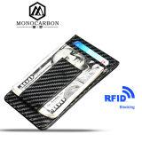 Supporto di cuoio della carta di credito della clip dei soldi dell'unità di elaborazione del reticolo della fibra del carbonio di funzione del rifornimento all'ingrosso RFID
