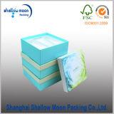 Papel azul impresión de CMYK cosmética caja de regalo de embalaje (QY150225)