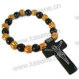 6mm die runden hölzernen Raupen wickelten Armband mit hölzernem Kreuz ein