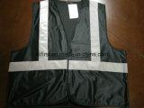 Tela de confeção de malhas brilhante do preto 100%Polyester da veste da segurança