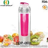 bottiglia di acqua di Tritan personalizzata 750ml con frutta Infuser, bottiglia di acqua di plastica di infusione della frutta (HDP-0601)