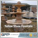 /Amarillo fuente de agua de piedra tallada mármol rojo para la decoración de Surroudings del jardín