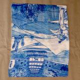Печатание цифров сценарного пятна полиэфира шарф цвета шифонового изготовленный на заказ голубой
