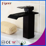 Mélangeur noir de prise d'eau de salle de bains de robinet de bassin de cascade à écriture ligne par ligne de corps rond (Q3003B)