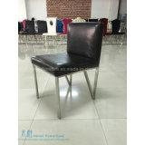 椅子(HW-YY10C)を食事する黒いPUのクッションの金属フレームのホテル