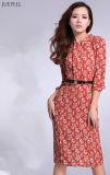 Chiffon- Material Floral Printed Dress für Ladys Elegante
