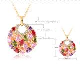 18k Gold Multicolor Zircon Women Bridal Jewelry Set (CST0029-C)