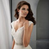 Кристалл шнурка втулки крышки V-Шеи подпоясывает платье венчания (SA004)