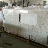 Подгонянные верхние части кухни гранита реки конструкции белые