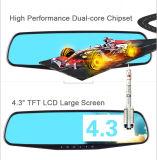 """автомобиль DVR объектива зеркала Rearview 720p двойной с монитором 4.3 """" LCD"""