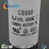 CBB60 805j 450VAC motor de CA Run y Start condensador de alto voltaje con 2 pernos de CE / UL / VDE / RoHS / CQC (CBB60 todas las series) mayor de la fábrica