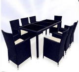 чернота 9PCS и Wicker Brown обедая комплект мебели