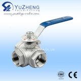 Type 3 robinet de l'acier inoxydable T/L à tournant sphérique de manière
