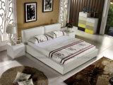 Ledernes Schlafzimmer-einfaches Bett der Art-C008