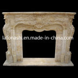 Marble beige Stone Fireplace Mantel e Surround per Indoor Decoration