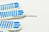 Gants de coton de travail de gants de main de coton de points de bleu de PVC