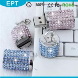 USB promozionale Memory Drives dei monili dell'OEM Tin Cylinder Shape Crystal