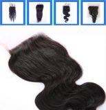"22 "" 인간적인 Straight Virgin Hair Lace Closure Three Part 또는 Middle"