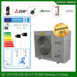 A bobina elevada do quarto 12kw/19kw/35kw do medidor do assoalho Heating100~350sq do inverno da tecnologia -25c de Evi Auto-Degela calefator de água rachado da bomba de calor do sistema