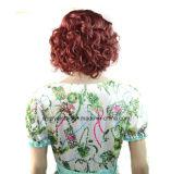 합성 머리 가발이 최신 판매 여자에 의하여 자연적인 물결파 가발 브라운 누전한다