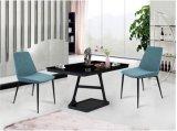 鉄の足(DC017)を搭載する椅子を食事する最新のシンプルな設計青いファブリック