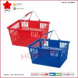 Panier à provisions en plastique d'épicerie avec les poignées en métal (OW-BM002)