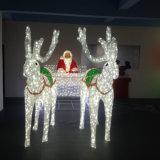 Luz bonita diversificada do motivo do carro dos cervos do diodo emissor de luz do RGB do Natal